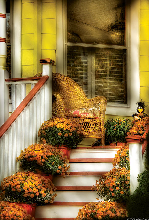 Savad Photograph - Porch - Westifeld Nj - In The Light Of Autumn by Mike Savad