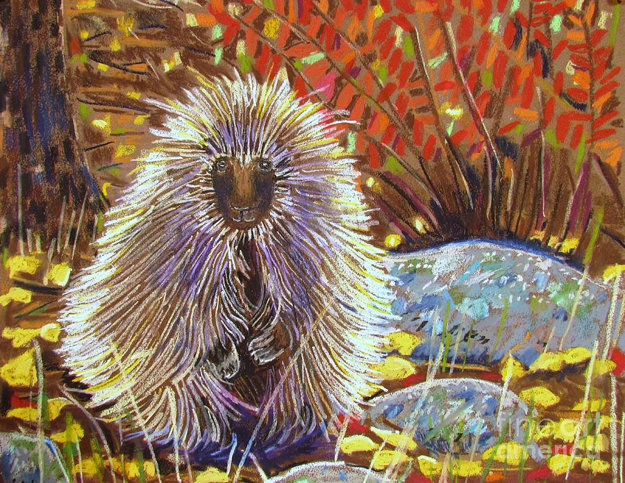 Porcupine On The Trail Pastel  - Porcupine On The Trail Fine Art Print