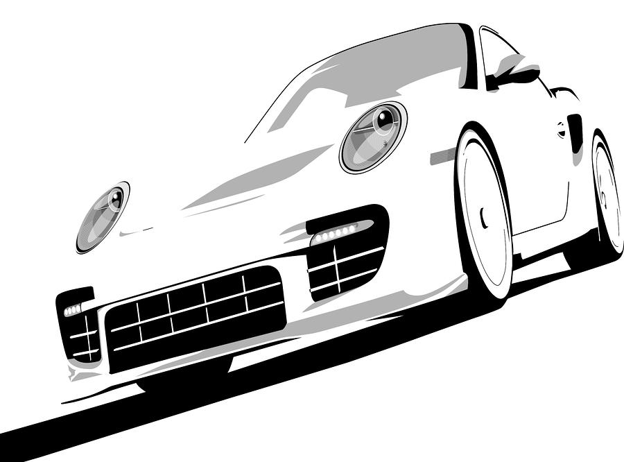 Porsche 911 Gt2 White Digital Art