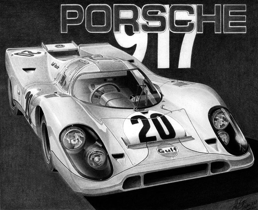 Porsche 917 Drawing  - Porsche 917 Fine Art Print