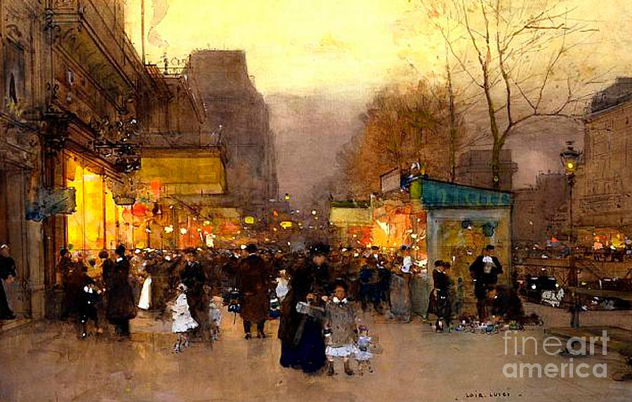 Porte St Martin At Christmas Time In Paris Painting By