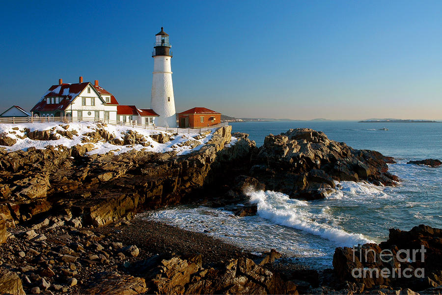 Portland Head Light - Lighthouse Seascape Landscape Rocky Coast Maine Photograph