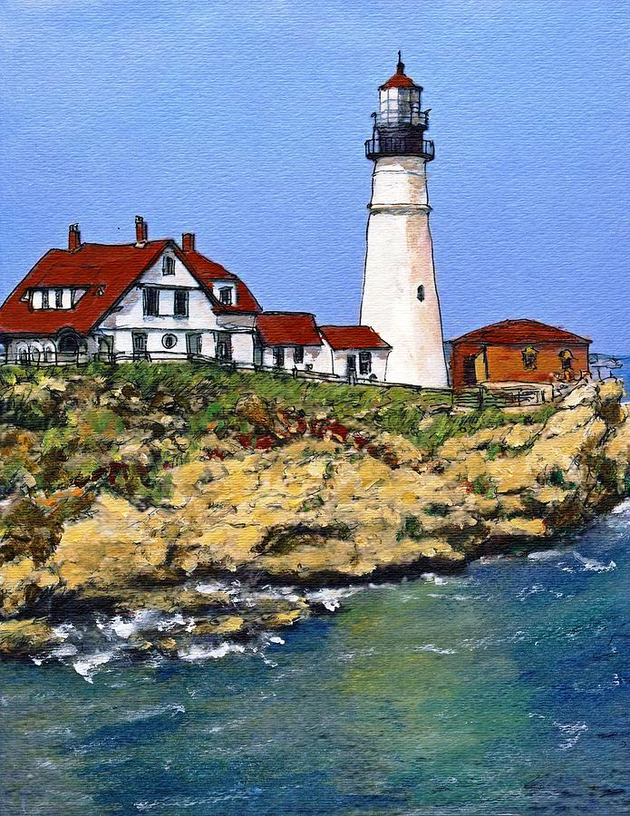 Portland Head Light House Painting  - Portland Head Light House Fine Art Print