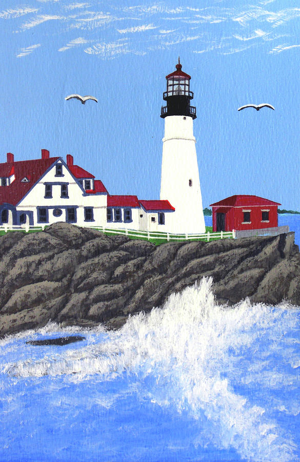 Portland Head Lighthouse Painting Painting  - Portland Head Lighthouse Painting Fine Art Print