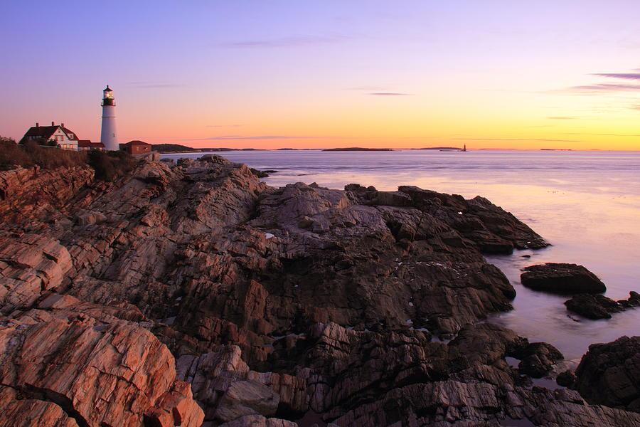 Portland Photograph - Portland Head Lighthouse Seascape by Roupen  Baker
