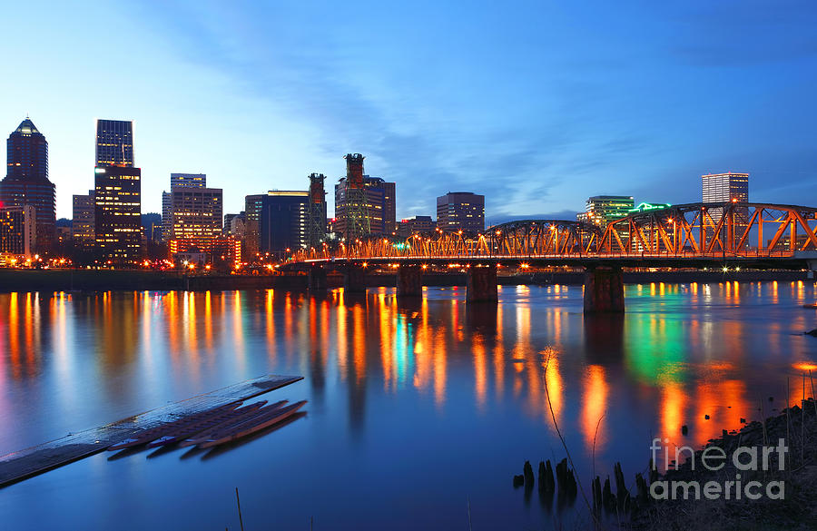 Portland Oregon At Dusk. Photograph