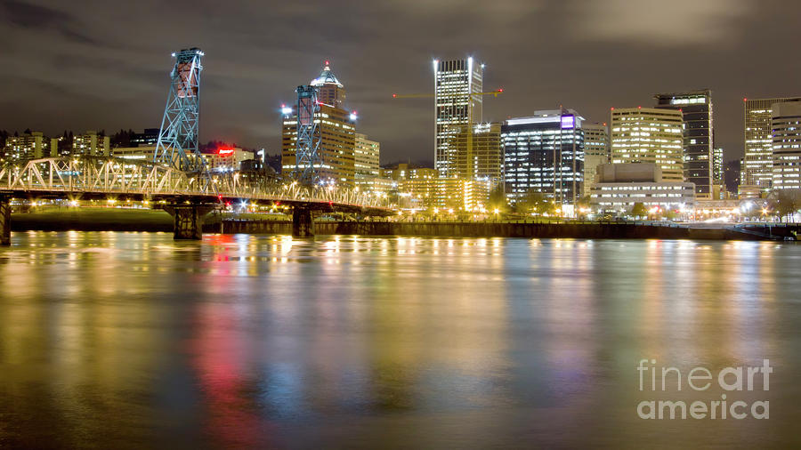 Portland Oregon Skyline Reflections Photograph  - Portland Oregon Skyline Reflections Fine Art Print
