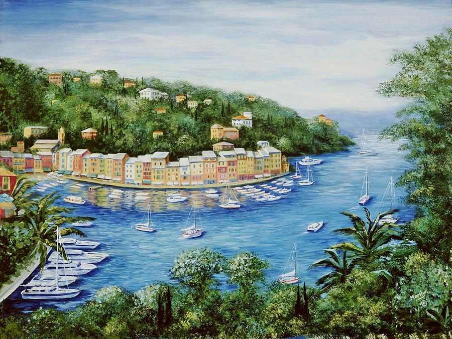 Portofino Majestic Panoramic View Painting  - Portofino Majestic Panoramic View Fine Art Print