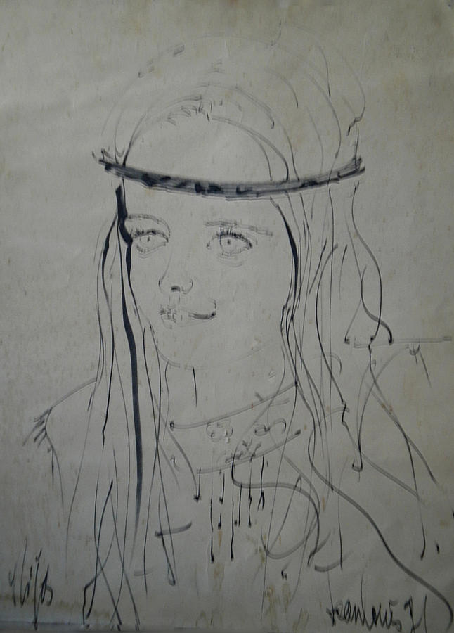 Portrait 1971 Colette Drawing  - Portrait 1971 Colette Fine Art Print