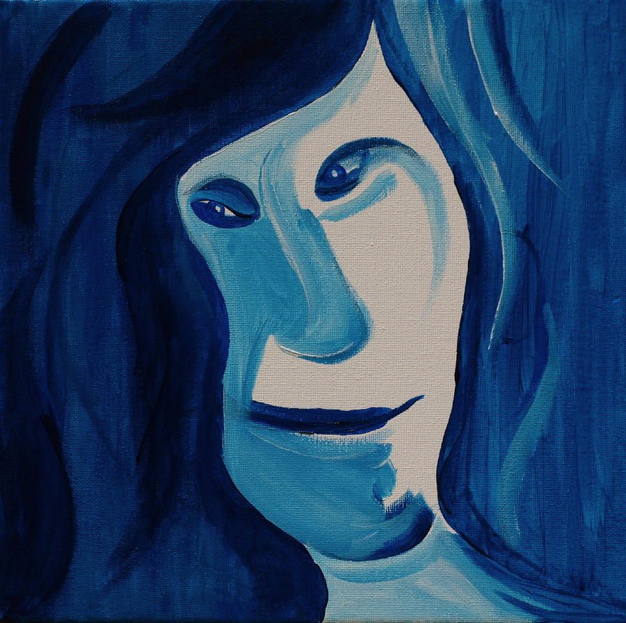 Portrait In Blue Painting
