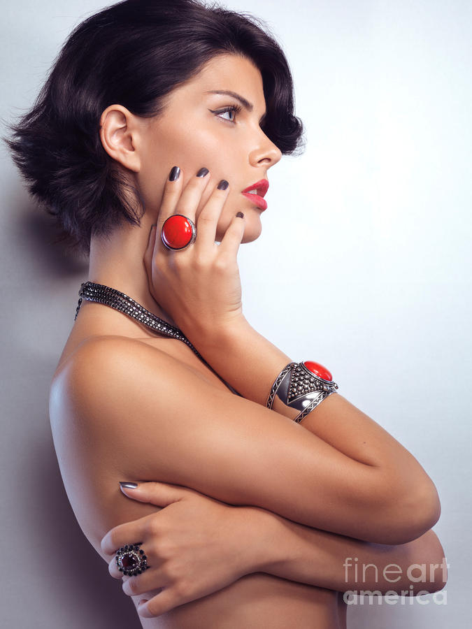 Portrait Of A Beautiful Woman Wearing Jewellery Photograph