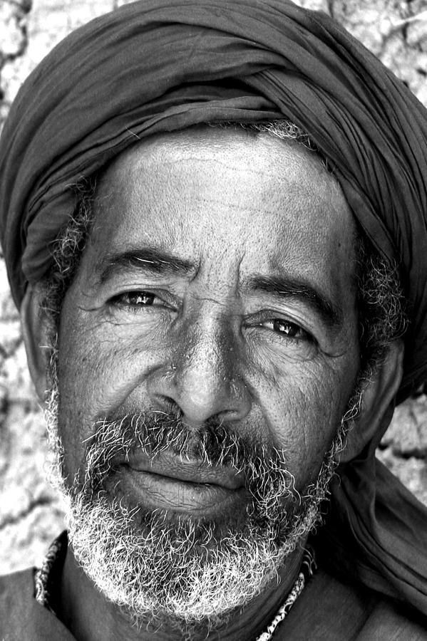 Portrait Of A Berber Man Bw Photograph  - Portrait Of A Berber Man Bw Fine Art Print