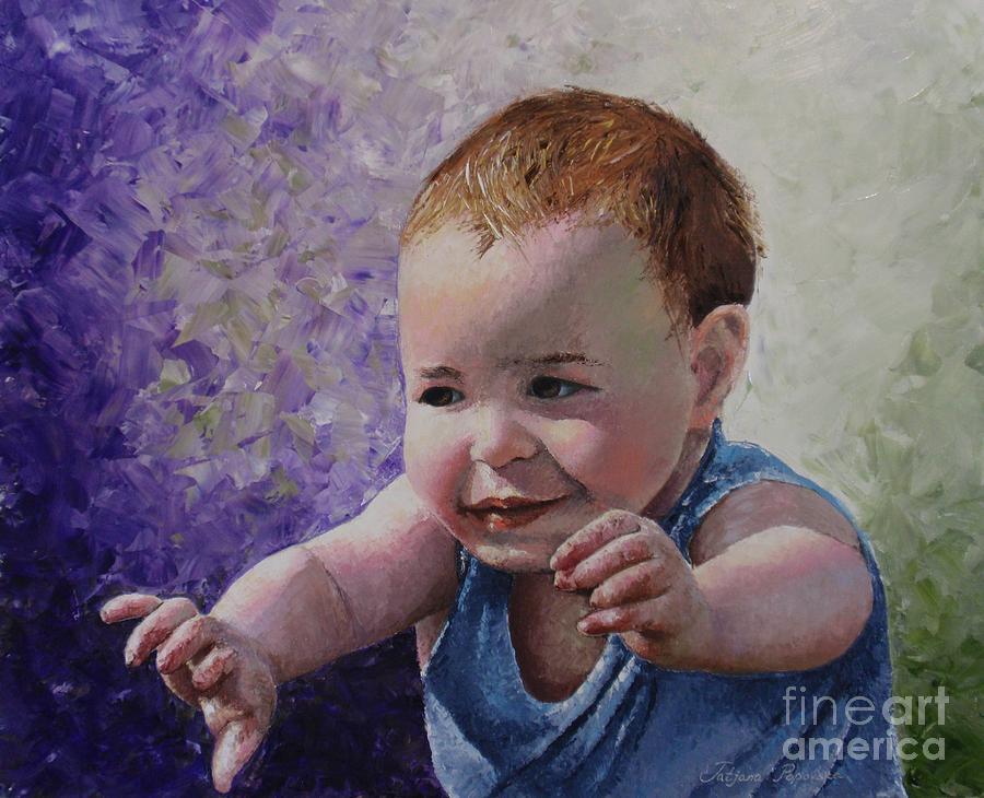 Oil Painting Painting - Portrait Of A Boy - Catch Me by Tatjana Popovska