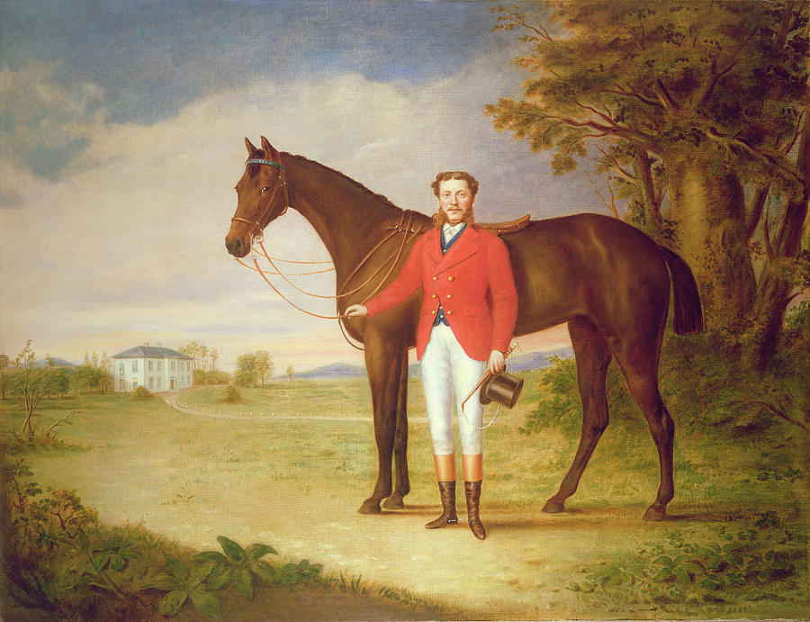 Portrait Of A Gentleman With His Horse Painting