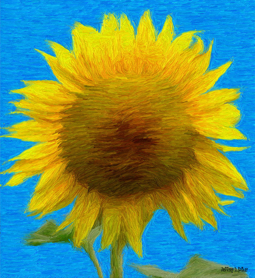 Portrait Of A Sunflower Painting  - Portrait Of A Sunflower Fine Art Print