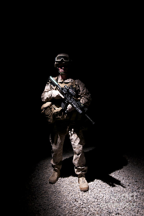 Portrait Of A U.s. Marine In Uniform Photograph  - Portrait Of A U.s. Marine In Uniform Fine Art Print