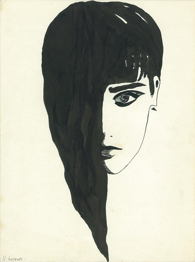 Indian Ink Work Painting - Portrait Of A Woman  by Valeria Jye