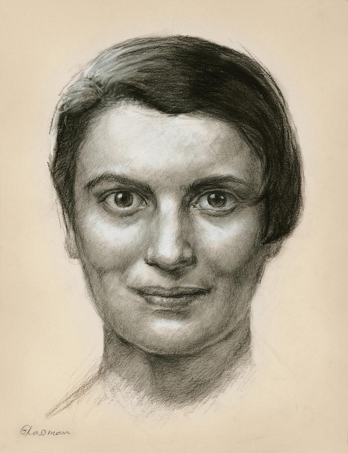 Portrait Of Ayn Rand Drawing  - Portrait Of Ayn Rand Fine Art Print