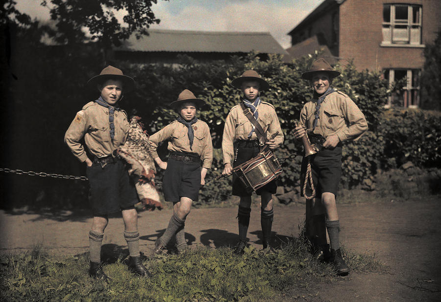 Portrait Of Boy Scouts At Abinger Photograph