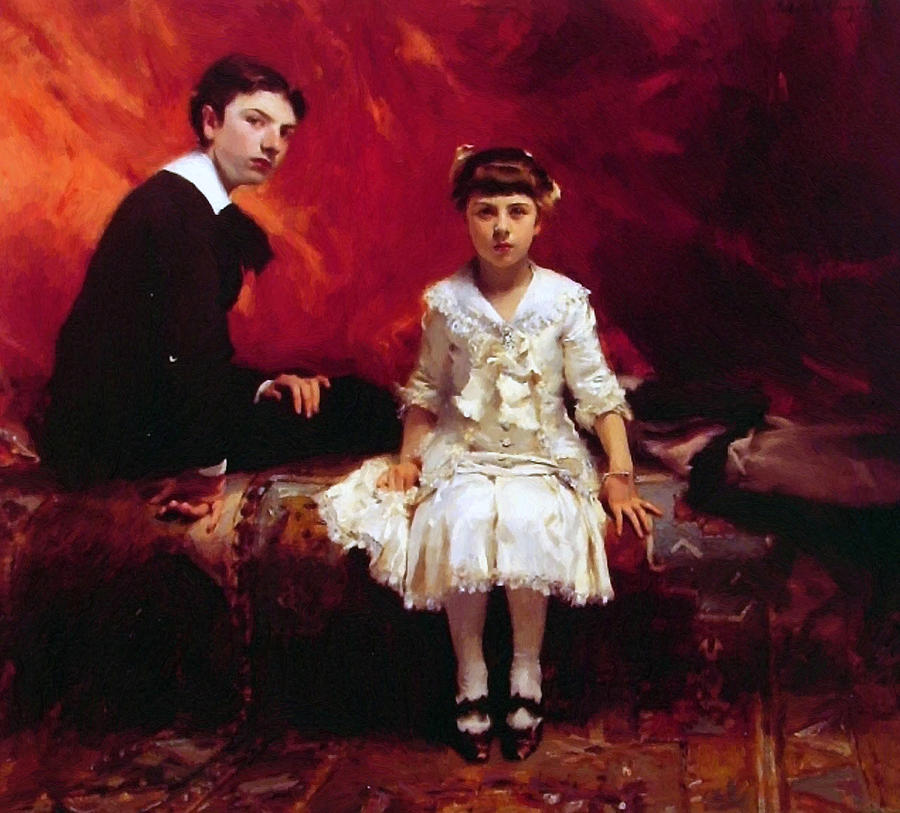 Portrait Of Edouard And Marie-louise Pailleron Painting  - Portrait Of Edouard And Marie-louise Pailleron Fine Art Print