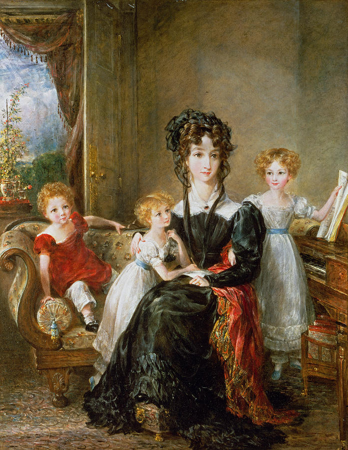 Portrait Of Elizabeth Lea And Her Children Painting  - Portrait Of Elizabeth Lea And Her Children Fine Art Print