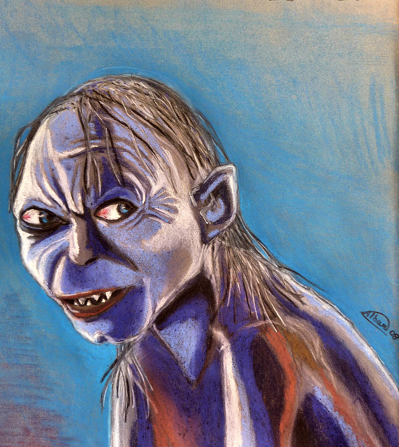 Portrait Of Gollum Pastel
