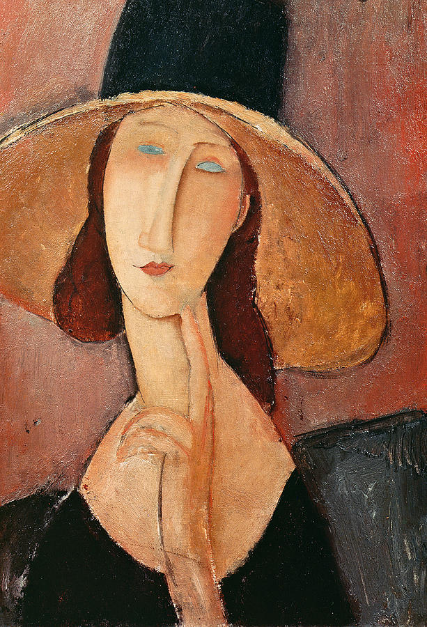 Portrait Of Jeanne Hebuterne In A Large Hat Painting