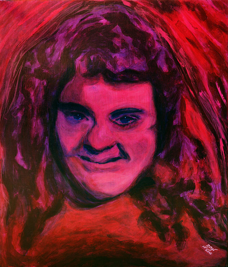 Portrait Of Jenny Friedman Who Never Gave Up. Figure Portrait In Pink Purple And Blue Downs Syndrome Painting