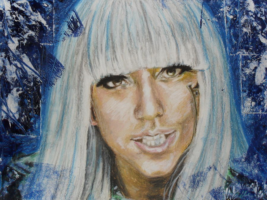 Portrait Lady Gaga People Woman Oil Pastel Mixed Media Realistic Impressionist Art Painting - Portrait Of Lady Gaga by Agnes V
