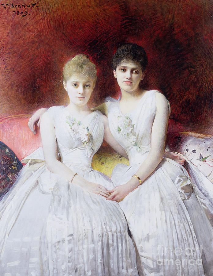 Portrait Of Marthe And Terese Galoppe Painting