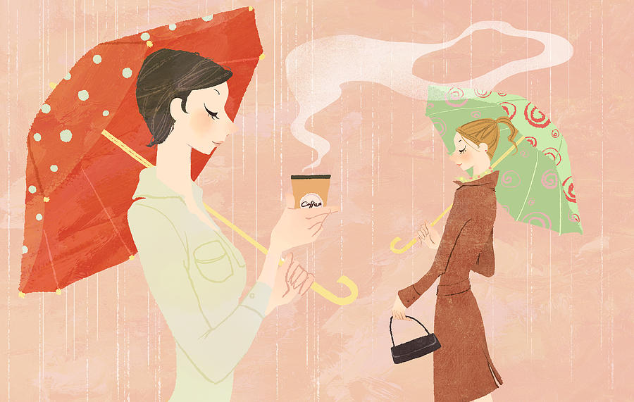 Portrait Of Young Woman In The Rain Holding Umbrella And A Takeaway Coffee Digital Art