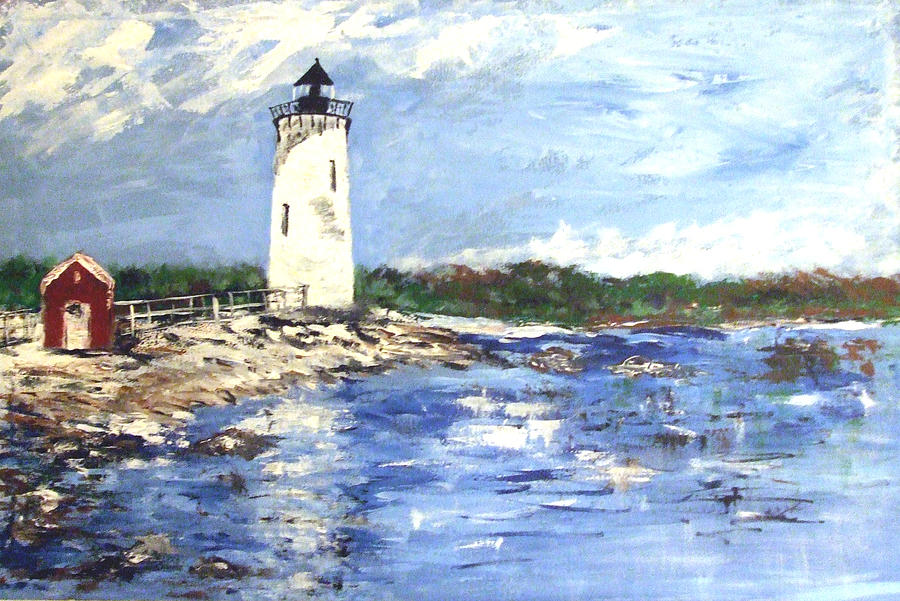 Portsmouth Nh Harbor Ligthouse Painting  - Portsmouth Nh Harbor Ligthouse Fine Art Print