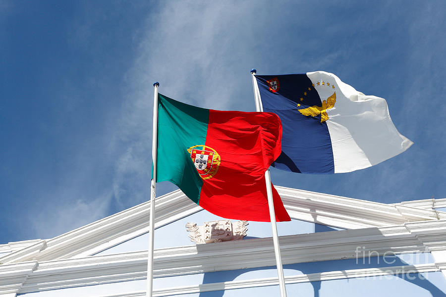Portugal And Azores Flags Photograph  - Portugal And Azores Flags Fine Art Print