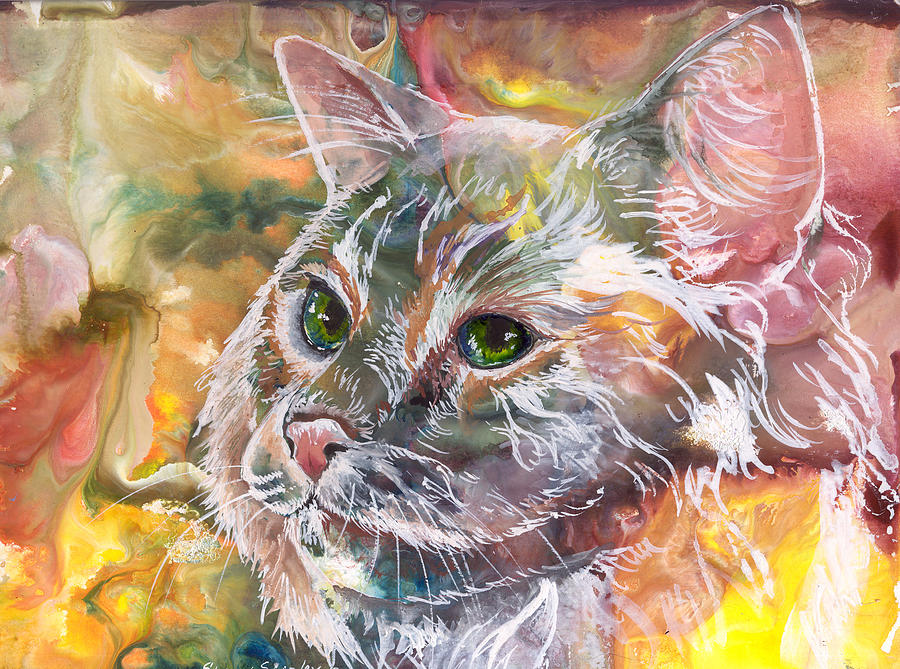 Cat. Green Eyes Painting - Posing by Sherry Shipley