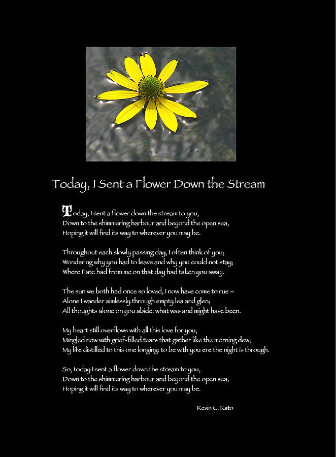 Flower Photograph - Poster Poem - I Sent A Flower Down The Stream by Poetic Expressions