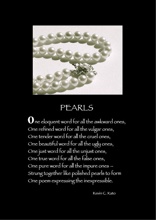 Poster Poem - Pearls Photograph  - Poster Poem - Pearls Fine Art Print