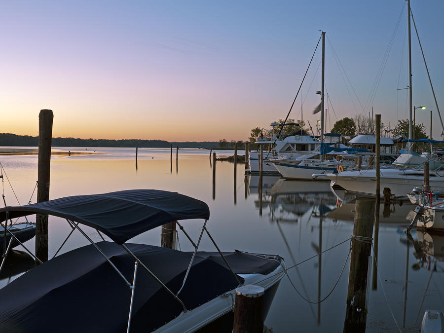 Potomac River At Sunrise Belle Haven Marina Alexandria Virginia Photograph