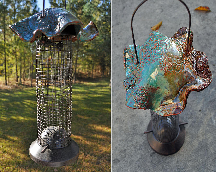 Pottery Wire Bird Feeder Ceramic Art