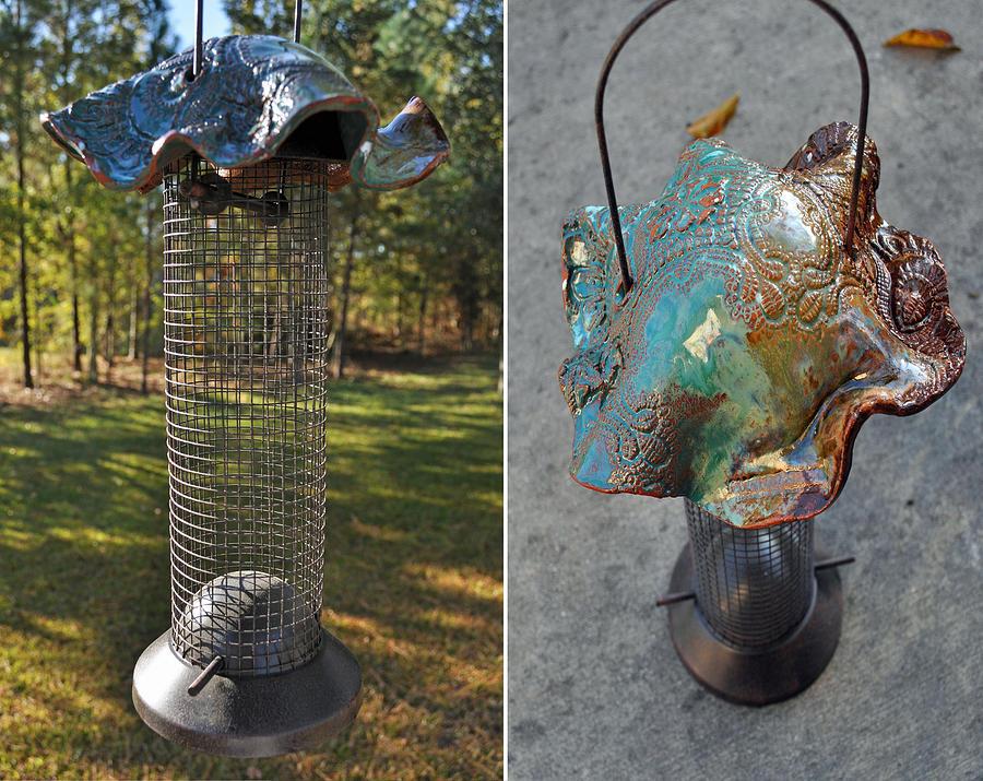 Pottery Wire Bird Feeder Ceramic Art