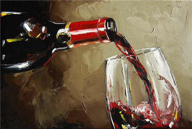 Pouring wine painting by victor bauer for Painting and wine