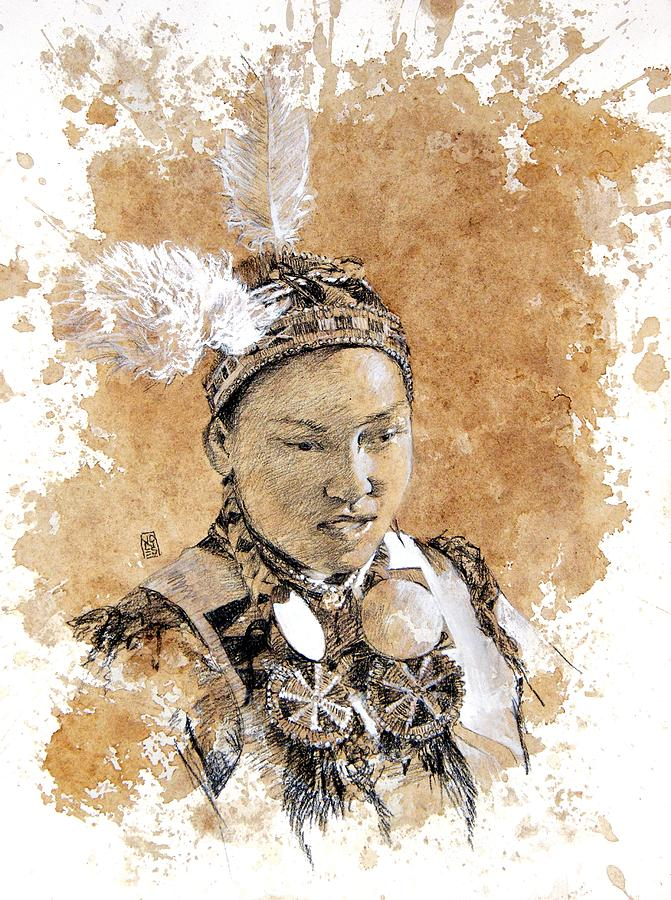 Pow Wow Art Drawing - Pow Wow Girl by Debra Jones