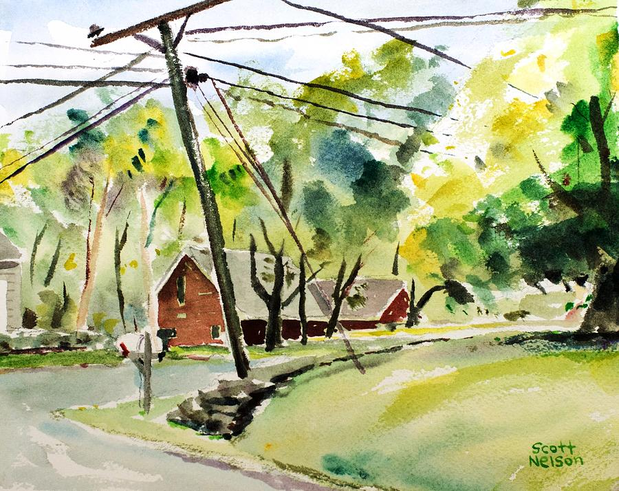 Power Pole Painting  - Power Pole Fine Art Print