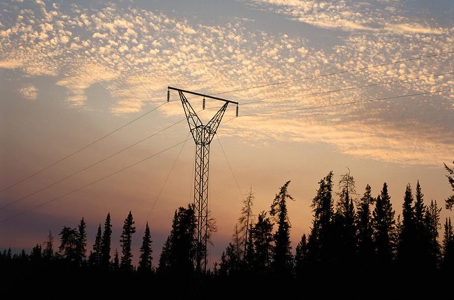 Power Towers Photograph - Power Tower And Sunset, Wood Buffalo by Raymond Gehman