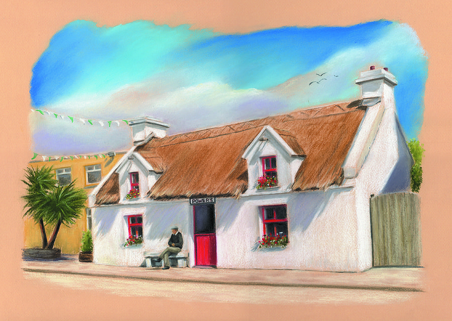 Powers Thatched Pub Oughterard Connemara Painting  - Powers Thatched Pub Oughterard Connemara Fine Art Print