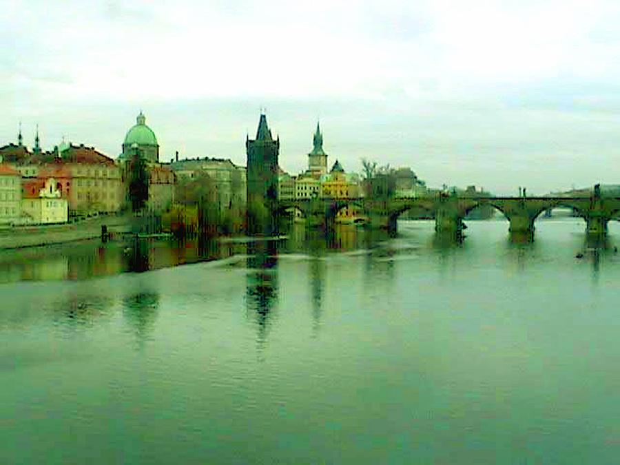 Prague  1 Jgibney 2000 City Bridge 2010 Mixed Media