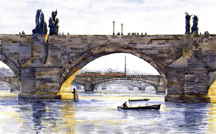 Prague Bridges Painting  - Prague Bridges Fine Art Print