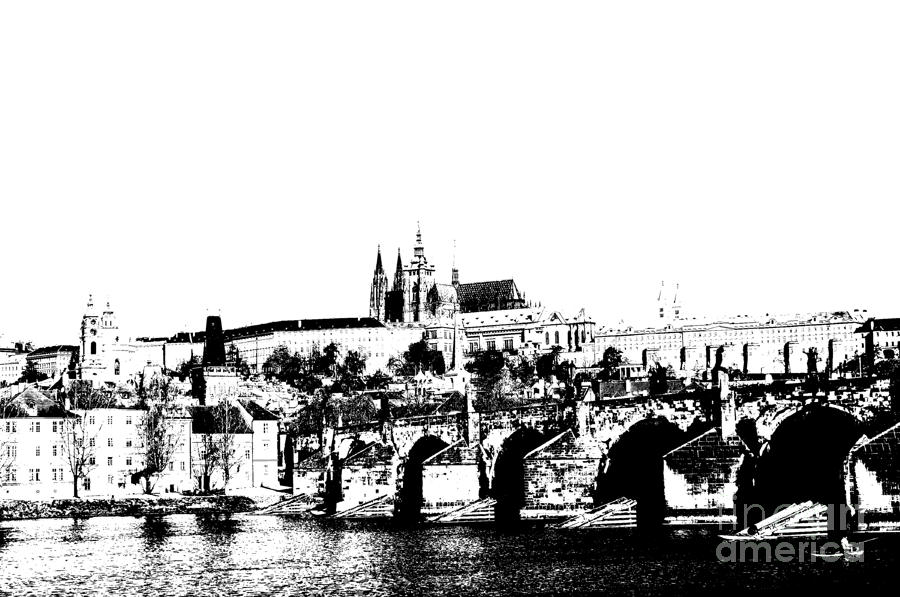 Prague Castle And Charles Bridge Digital Art  - Prague Castle And Charles Bridge Fine Art Print