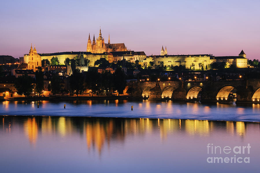 Prague Castle On The Riverbank Photograph