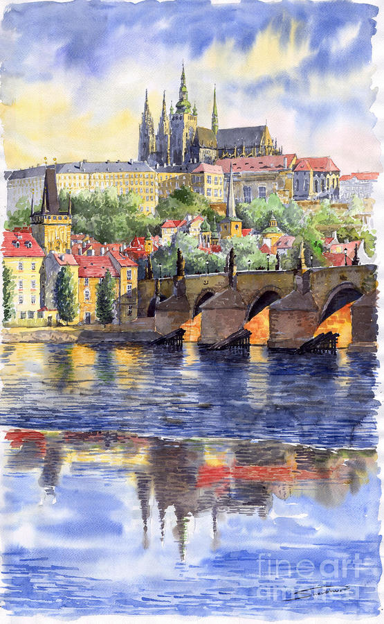 Prague Castle With The Vltava River 1 Painting  - Prague Castle With The Vltava River 1 Fine Art Print