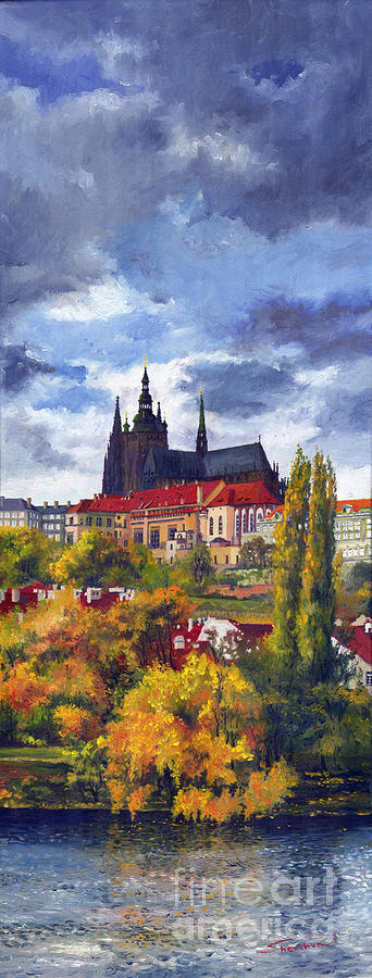Prague Castle With The Vltava River Painting  - Prague Castle With The Vltava River Fine Art Print